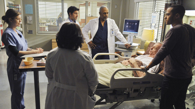 "GREY'S ANATOMY - ""Perfect Little Accident"" - When famous surgeon Dr. Harper Avery is rushed to Seattle Grace-Mercy West, the staff is surprised to discover that one of their own is related to this legend, and his unorthodox request for his surgery causes tensions between Derek and Richard. Meanwhile Callie and Arizona try to help Teddy and Sloan move on from their pasts and find greener pastures, on ""Grey's Anatomy,"" THURSDAY, MARCH 4 (9:00-10:01 p.m., ET) on the ABC Television Network. (ABC/ERIC MCCANDLESS)ELLEN POMPEO, CHANDRA WILSON, PATRICK DEMPSEY, JAMES PICKENS JR., CHELCIE ROSS, JESSIE WILLIAMS"