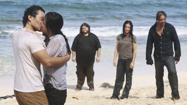 "LOST - ""The Last Recruit"" - Alliances are forged and broken as the Locke and Jack camps merge, on ""Lost,"" TUESDAY, APRIL 20 (9:00-10:02 p.m., ET) on the ABC Television Network. (ABC/MARIO PEREZ) DANIEL DAE KIM, YUNJIN KIM, JORGE GARCIA, EVANGELINE LILLY, JOSH HOLLOWAY"