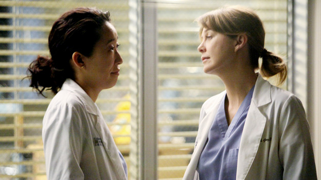"GREY'S ANATOMY - ""Golden Hour"" - Meredith, looking to prove she is Chief Resident material, learns that anything and everything can happen in an hour's time when she steps up to run the ER for a night; meanwhile, Bailey sneaks off with Eli and gets into a little mischief, and everyone is surprised when the Chief's wife, Adele, shows up as one of the ER patients, on ""Grey's Anatomy,"" THURSDAY, FEBRUARY 17 (9:00-10:01 p.m., ET) on the ABC Television Network. (ABC/DANNY FELD) SANDRA OH, ELLEN POMPEO"