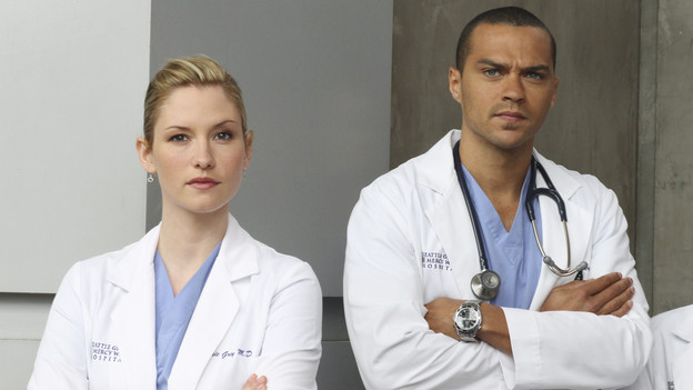 "GREY'S ANATOMY - ""How Insensitive"" - Bailey preps the team with a mandatory sensitivity training prior to admitting a 700-pound patient with compounded medical issues, and the case proves to be challenging in every sense of the word. Meanwhile Derek has to come face to face with a former patient's husband in a wrongful death deposition, and spending time with a heart patient's daughter opens up some old wounds for Cristina, on ""Grey's Anatomy,"" THURSDAY, MAY 6 (9:00-10:01 p.m., ET) on the ABC Television Network. (ABC/RON TOM) CHYLER LEIGH, JESSE WILLIAMS"