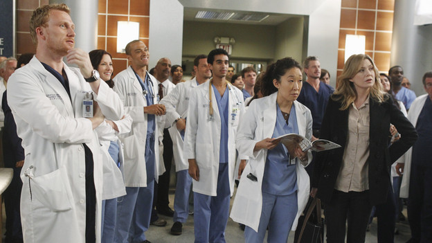 "GREY'S ANATOMY - ""With You I'm Born Again"" -- After an unforgettable and heart-pounding season finale, ""Grey's Anatomy"" returns for its seventh season on THURSDAY, SEPTEMBER 23 (9:00-10:01 p.m., ET) on the ABC Television Network. In the season premiere, the hospital staff is trying to deal with physical and emotional trauma in the wake of the deadly rampage of a vengeful gunman. As Dr. Perkins (James Tupper), a trauma counselor, is brought in to help in the recovery and to assess each doctor's readiness to return to work, Derek makes a spontaneous decision to resign as Chief and rushes back into surgery, taking everything a little too fast, and Cristina buries herself in her wedding planning. (ABC/PETER ""HOPPER"" STONE)KEVIN MCKIDD, CHYLER LEIGH, JESSE WILLIAMS, JUSTIN CHAMBERS, SANDRA OH, ERIC DANE, ELLEN POMPEO"