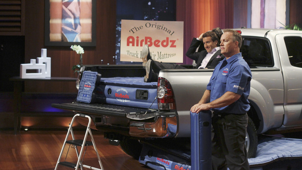 SHARK TANK - &quot;Episode 313&quot; - The inventor of Rollerblades hopes to get investment money to put toward his newest invention, an elevated mono-rail bike system. An amazing story from a Rochester, NY businesswoman who hopes her dream comes true and strikes a deal for her innovative shoe accessories that can turn any shoe into a boot. A man from Buena Park, CA must convince the Sharks that there is a market for a custom made air mattress that fits in the back of a pickup truck; and a fashion designer from Dallas, TX has over a billion reasons the Sharks should see the value in his customized cruiser bikes that can be designed on an interactive website. There is a follow-up on Ladera Ranch, California's Shelly Ehler and her ShowNo, a unique towel design that provides coverage when changing out of a swimsuit in public places, which Lori Greiner invested in during Season 3, on &quot;Shark Tank,&quot; FRIDAY, MAY 4 (8:00-9:01 p.m., ET) on the ABC Television Network. (ABC/MICHAEL ANSELL)ROBERT HERJAVEC, JAMES PITTMAN (AIRBEDZ)