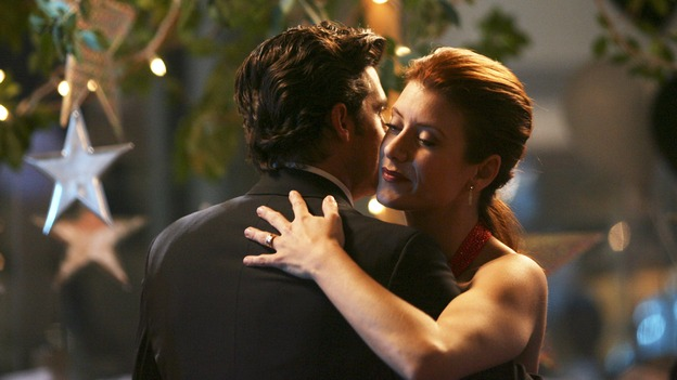 GREY'S ANATOMY - In the first hour of part two of the season finale of ABC's &quot;Grey's Anatomy&quot; -- &quot;Deterioration of the Fight or Flight Response&quot; -- Izzie and George attend to Denny as the pressure increases to find him a new heart, Cristina suddenly finds herself in charge of an ER, and Derek grapples with the realization that the life of a friend is in his hands. In the second hour, &quot;Losing My Religion,&quot; Richard goes into interrogation mode about a patient's condition, Callie confronts George about his feelings for her, and Meredith and Derek meet about Doc. Part two of the season finale of &quot;Grey's Anatomy&quot; airs MONDAY, MAY 15 (9:00-11:00 p.m., ET) on the ABC Television Network. (ABC/SCOTT GARFIELD)PATRICK DEMPSEY, KATE WALSH