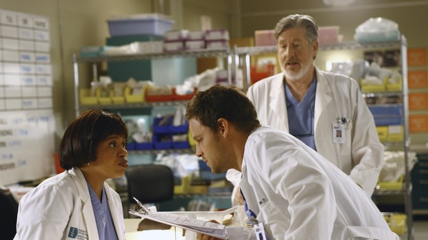 "GREY'S ANATOMY - ""Let the Truth Sting"" - The new interns are dazzled by the skill level of fellow intern George, while Lexie helps keep his ""repeater"" status a secret; Meredith half-heartedly helps Lexie with her first emergency patient; Sloan and Richard attempt a radical, new surgery to save a woman's ability to speak; and George is compelled to tell Callie of his past indiscretion with Izzie, on ""Grey's Anatomy,"" THURSDAY, OCTOBER 11 (9:00-10:01 p.m., ET) on the ABC Television Network. (ABC/SCOTT GARFIELD)CHANDRA WILSON, JUSTIN CHAMBERS, EDWARD HERMANN"
