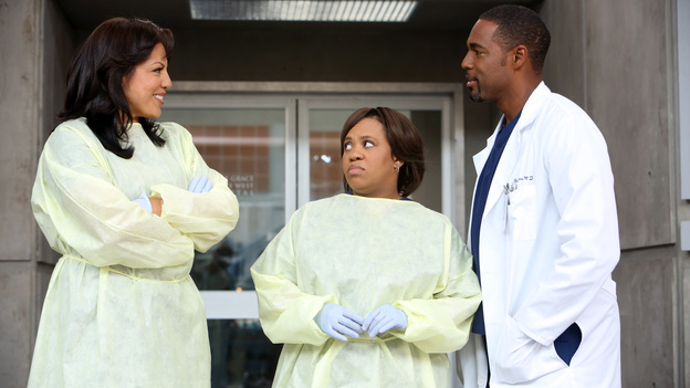"GREY'S ANATOMY - ""Flight"" - Faced with a life threatening situation, the doctors must fight to stay alive while trying to save the lives of their peers; Bailey and Ben make a decision regarding their relationship; and Teddy is presented with a tempting offer. Meanwhile, Richard plans a special dinner for the residents, on the Season Finale of ""Grey's Anatomy,"" THURSDAY, MAY 17 (9:00-10:01 p.m., ET) on the ABC Television Network. (ABC/DANNY FELD)SARA RAMIREZ, CHANDRA WILSON, JASON GEORGE"