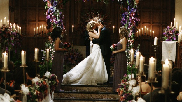 "GREY'S ANATOMY - ""What a Difference a Day Makes"" - You may now kiss the bride! Alex and Izzie are married, on ""Grey's Anatomy,"" THURSDAY, MAY 7 (9:00-10:02 p.m., ET) on the ABC Television Network. SANDRA OH, KATHERINE HEIGL, JUSTIN CHAMBERS, ELLEN POMPEO"
