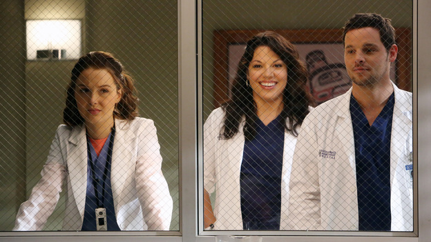 "GREY'S ANATOMY - ""The End is the Beginning is the End"" - Meredith, Derek, Cristina and Arizona receive big news regarding the plane crash lawsuit, Richard avoids Catherine's romantic advances and Jackson takes on one of Mark Sloane's old patients. Meanwhile, Derek begins recovery on his hand, on ""Grey's Anatomy,"" THURSDAY, JANUARY 17 (9:00-10:02 p.m., ET) on the ABC Television Network. (ABC/DANNY FELD)CAMILLA LUDDINGTON, SARA RAMIREZ, JUSTIN CHAMBERS"
