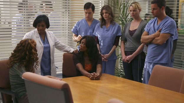 "GREY'S ANATOMY - In the first hour of part two of the season finale of ABC's ""Grey's Anatomy"" -- ""Deterioration of the Fight or Flight Response"" -- Izzie and George attend to Denny as the pressure increases to find him a new heart, Cristina suddenly finds herself in charge of an ER, and Derek grapples with the realization that the life of a friend is in his hands. In the second hour, ""Losing My Religion,"" Richard goes into interrogation mode about a patient's condition, Callie confronts George about his feelings for her, and Meredith and Derek meet about Doc. Part two of the season finale of ""Grey's Anatomy"" airs MONDAY, MAY 15 (9:00-11:00 p.m., ET) on the ABC Television Network. (ABC/SCOTT GARFIELD)HALLEE HIRSH, CHANDRA WILSON, TIFFANY HINES, T.R. KNIGHT, ELLEN POMPEO, KATHERINE HEIGL, JUSTIN CHAMBERS"