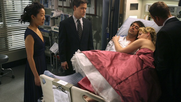 "GREY'S ANATOMY - In the first hour of part two of the season finale of ABC's ""Grey's Anatomy"" -- ""Deterioration of the Fight or Flight Response"" -- Izzie and George attend to Denny as the pressure increases to find him a new heart, Cristina suddenly finds herself in charge of an ER, and Derek grapples with the realization that the life of a friend is in his hands. In the second hour, ""Losing My Religion,"" Richard goes into interrogation mode about a patient's condition, Callie confronts George about his feelings for her, and Meredith and Derek meet about Doc. Part two of the season finale of ""Grey's Anatomy"" airs MONDAY, MAY 15 (9:00-11:00 p.m., ET) on the ABC Television Network. (ABC/SCOTT GARFIELD)SANDRA OH, T.R. KNIGHT, JEFFREY DEAN MORGAN, KATHERINE HEIGL, JUSTIN CHAMBERS"