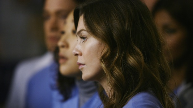 "GREY'S ANATOMY - ""Elevator Love Letter"" - Meredith and Cristina wait to hear about Izzie's surgery, on ""Grey's Anatomy,"" THURSDAY, MARCH 26 (9:00-10:02 p.m., ET) on the ABC Television Network. (ABC/SCOTT GARFIELD) SANDRA OH, ELLEN POMPEO"