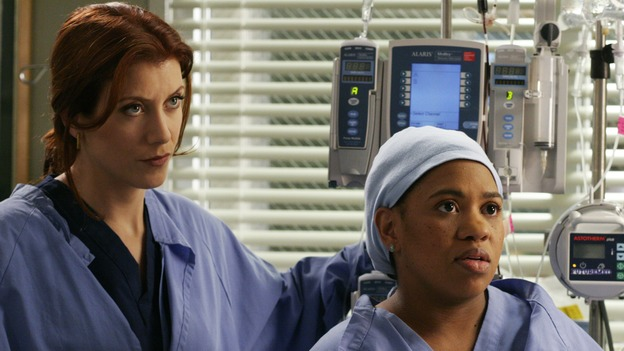 GREY'S ANATOMY - &quot;Damage Case&quot; -- The interns deal with a family involved in a car accident, Derek lets his emotions get the best of him, and Burke and Izzie make a new suggestion to Denny, on &quot;Grey's Anatomy,&quot; SUNDAY, MAY 7 (10:00-11:00 p.m., ET) on the ABC Television Network. (ABC/RON TOM)KATE WALSH, CHANDRA WILSON