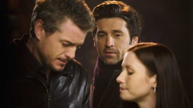 "GREY'S ANATOMY - ""Beat Your Heart Out"" - Derek nearly catches Mark and Lexie flirting. Previously, Derek had forbidden Mark from having a relationship (or whatever passes for one with Mark), with ""little Grey,"" on ""Grey's Anatomy,"" THURSDAY, FEBRUARY 5 (9:00-10:02 p.m., ET) on the ABC Television Network. (ABC/RANDY HOLMES) ERIC DANE, PATRICK DEMPSEY, CHYLER LEIGH"