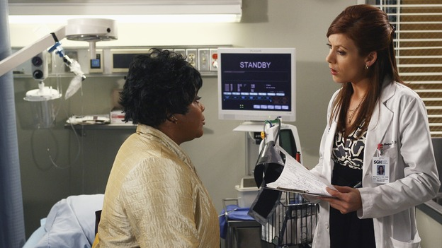 "GREY'S ANATOMY -  ""Testing 1-2-3"" - The interns take the biggest test of their careers, their first-year medical exams, as the residents attend to three injured mountain climbers. Meanwhile Callie's suspicions of George and Izzie grow, and Cristina struggles to write her wedding vows, on ""Grey's Anatomy,"" THURSDAY, MAY 10 (9:00-10:01 p.m., ET) on the ABC Television Network. (ABC/SCOTT GARFIELD)LORETTA DEVINE, KATE WALSH"