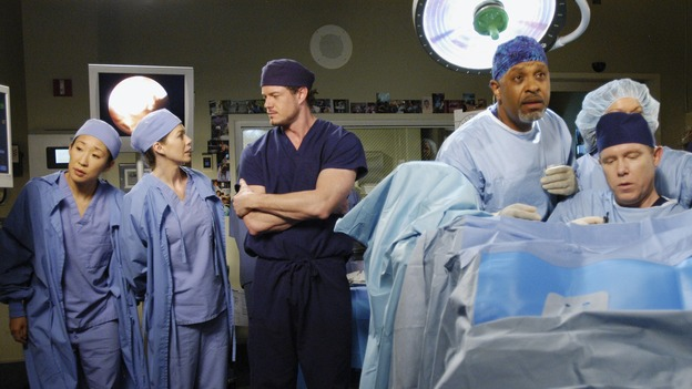 "GREY'S ANATOMY - ""Desire"" - As the interns of Seattle Grace cram for their upcoming exam, the attendings vie for the Chief's position by tending to the chairman of the hospital board after he's admitted as a patient. Meanwhile, Burke struggles to involve Cristina in the wedding planning, things heat up between Addison and Alex, and Derek questions his relationship with Meredith, on ""Grey's Anatomy,"" THURSDAY, APRIL 26 (9:00-10:01 p.m., ET) on the ABC Television Network. (ABC/GALE ADLER)SANDRA OH, ELLEN POMPEO, ERIC DANE, JAMES PICKENS, JR., STEWART SKELTON"