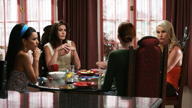 DESPERATE HOUSEWIVES - &quot;They Asked Me Why I Believe in You&quot; -- Susan's longtime book agent and dear friend, Lonny Moon (guest star Wallace Shawn), gets into financial trouble; Lynette is forced to go out to bars night after night with her man-hungry boss, Nina (guest star Joely Fisher); Bree re-buries Rex amid police suspicions, and Gaby hires hotshot lawyer David Bradley (guest star Adrian Pasdar) to defend Carlos, on Desperate Housewives,&quot; SUNDAY, OCTOBER 23 (9:00-10:01 p.m., ET) on the ABC Television Network. (ABC/RON TOM)EVA LONGORIA, TERI HATCHER, MARCIA CROSS, NICOLLETTE SHERIDAN