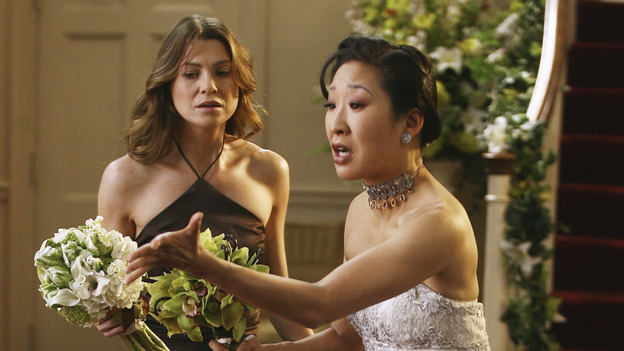 "GREY'S ANATOMY - ""Didn't We Almost Have It All"" - Cristina and Burke's wedding day arrives - along with the interns' first exam results - and a successor to the Chief is named, as Callie and George make a big decision about their relationship, on the Season Finale of ""Grey's Anatomy,"" THURSDAY, MAY 17 (9:00-10:07 p.m., ET) on the ABC Television Network. (ABC/SCOTT GARFIELD)ELLEN POMPEO, SANDRA OH"