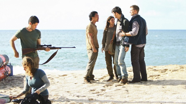 LOST -  &quot;This Place is Death&quot; - Jin returns to the island after being rescued by a young Danielle Rousseau and her team of French scientists, on &quot;Lost,&quot; WEDNESDAY, FEBRUARY 11 (9:00-10:02 p.m., ET) on the ABC Television Network.  (ABC/MARIO PEREZ) BRUNO BRUNI, ALEXANDRA TOBAS, DANIEL DAE KIM, MELISSA FARMAN, GUILLAME DUBINPONS, MARC MENARD