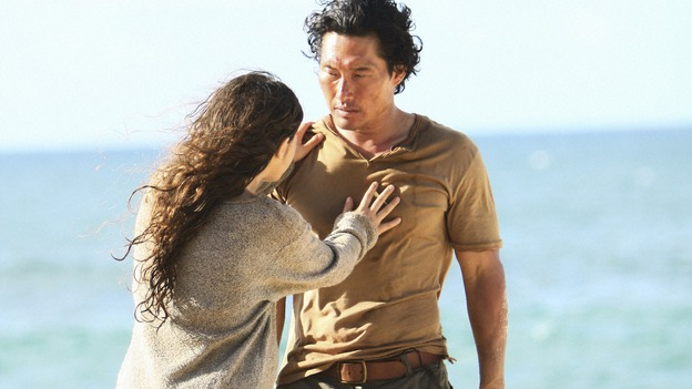 "LOST -  ""This Place is Death"" - Jin finds himself back on the island with a young, pregnant Rousseau and her team of French scientists, on ""Lost,"" WEDNESDAY, FEBRUARY 11 (9:00-10:02 p.m., ET) on the ABC Television Network.  (ABC/MARIO PEREZ) MELISSA FARMAN, DANIEL DAE KIM"