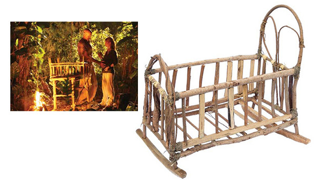 Baby Aaron's cribAaron's primitive wooden crib built by Locke and given to Claire on her birthdayfor her soon-to-be-born baby in the episode, &quot;Numbers,&quot; and seen prominently in the campsite thereafter.Related content:EPISODE RECAP - &quot;Numbers&quot;PHOTOS - &quot;Numbers&quot;