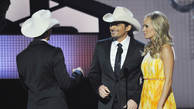 THE 44TH ANNUAL CMA AWARDS - THEATRE - &quot;The 44th Annual CMA Awards&quot; were broadcast live from the Bridgestone Arena in Nashville, WEDNESDAY, NOVEMBER 10 (8:00-11:00 p.m., ET) on the ABC Television Network. (ABC/KATHERINE BOMBOY)JEFF GORDON, BRAD PAISLEY, CARRIE UNDERWOOD