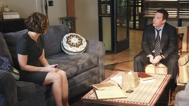 "PRIVATE PRACTICE - ""The Time Has Come"" - Sheldon counsels Sam's friend, Rick, an Army veteran suffering from PTSD who harbors a secreted sexual trauma; Erica and Mason are involved in a nonfatal car accident that forces Cooper and Charlotte to further come to grips with their future; Violet and Pete struggle to navigate life after marriage when he finds her kissing Scott; and Addison and Jake attend a medical conference they won't soon forget, on ABC's ""Private Practice"" THURSDAY, FEBRUARY 2 (10:02-11:00 p.m., ET) on the ABC Television Network. (ABC/RICHARD CARTWRIGHT)AMY BRENNEMAN, BRIAN BENBEN"