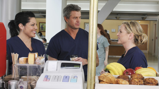 "GREY'S ANATOMY - ""Sympathy for the Parents"" - When Alex's younger brother, Aaron, shows up at Seattle Grace-Mercy West with a hernia, it's up to Alex to get Bailey's approval for his pro bono surgery. Matters are further complicated when Aaron discloses that his family has not heard from Alex since he arrived in Seattle, and parts of Alex's past long kept secret are revealed to his friends and fellow doctors, on ""Grey's Anatomy,"" THURSDAY, APRIL 1 (9:00-10:01 p.m., ET) on the ABC Television Network. (ABC/RON TOM)SARA RAMIREZ, ERIC DANE, JESSICA CAPSHAW"