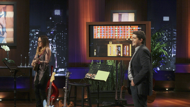 "SHARK TANK - ""Episode 309"" - Indie-pop & singer-songwriter Ingrid Michaelson joins an entrepreneur from Marina del Rey, CA to pitch his high-tech music software product. A couple from Oldsmar, FL learns the hard way they have just one chance to convince the Sharks to invest in their instant solution for cellulite-free looking skin. Also: An entrepreneur from San Diego, CA pitches his unique sales distribution method for his stand-up paddle board company to the Sharks. A wine server from Fort Collins, CO has created an aerating device that could revolutionize the way wine is sold. Plus, there's a follow-up on Fullerton, CA's Rick Hopper and his invention, Readerest, a magnetic clip that secures eyeglasses -- and which Lori Greiner invested in during Season 3 -- on ""Shark Tank,"" FRIDAY, MARCH 16 (8:00-9:00 p.m., ET) on the ABC Television Network. (ABC/MICHAEL ANSELL)AVIV GRILL-CHILDERS (MISO MEDIA)"