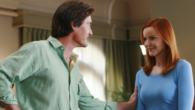"DESPERATE HOUSEWIVES - ""Remember"" - A series of flashbacks take us back to moving-in day on Wisteria Lane for Bree, Susan, Gaby and Lynette, and to how Mary Alice Young brought them all together. Meanwhile Bree gets some frightening news, Susan moves into a trailer, Lynette discovers Tom's secret and all is not well in the house of Solis, on the two-hour Second-Season finale of ""Desperate Housewives,"" SUNDAY, MAY 21 (9:00-11:00 p.m., ET) on the ABC Television Network. (ABC/RON TOM)KYLE MACLACHLAN, MARCIA CROSS"