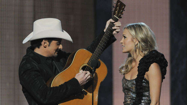 "THE 44TH ANNUAL CMA AWARDS - THEATRE - ""The 44th Annual CMA Awards"" were broadcast live from the Bridgestone Arena in Nashville, WEDNESDAY, NOVEMBER 10 (8:00-11:00 p.m., ET) on the ABC Television Network. (ABC/KATHERINE BOMBOY)BRAD PAISLEY, CARRIE UNDERWOOD"