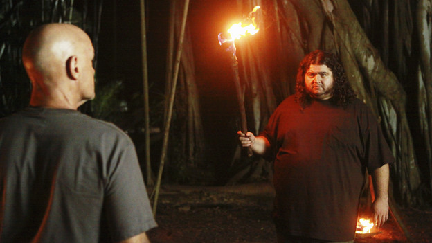"LOST - ""Everybody Loves Hugo"" - Hurley agonizes over what the group should do next, and Locke is curious about the new arrival to his camp, on ""Lost,"" TUESDAY, APRIL 13 (9:00-10:02 p.m., ET) on the ABC Television Network. (ABC/MARIO PEREZ) TERRY O'QUINN, JORGE GARCIA"