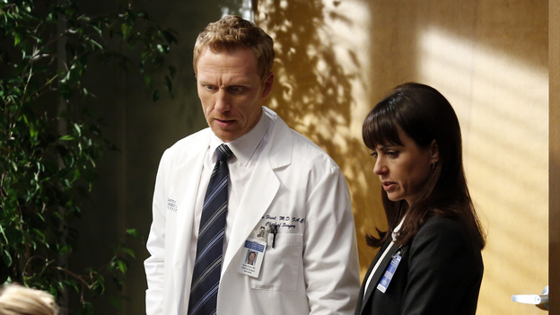 "GREY'S ANATOMY - ""Walking on a Dream"" - The Seattle Grace doctors are on edge when a new medical professional enters the hospital; Arizona struggles with the emotional and physical pain of a phantom limb; and while battling pregnancy hormones, an overly-emotional Meredith is confronted with her worst fear, on ""Grey's Anatomy,"" THURSDAY, JANUARY 24 (9:00-10:02 p.m., ET) on the ABC Television Network. (ABC/KELSEY MCNEAL)JESSICA CAPSHAW, KEVIN MCKIDD, CONSTANCE ZIMMER"