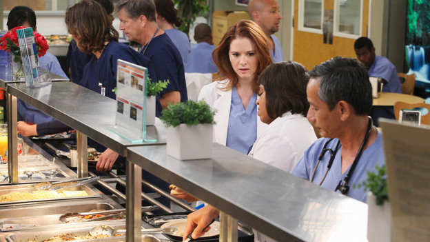 "GREY'S ANATOMY - ""Free Falling"" - In the first hour, ""Free Falling"" (9:00-10:00 p.m.), the fifth-year residents return for the first day of a year that will make or break their careers: Meredith faces the consequences of tampering with Derek's clinical trial and is terminated at the hospital; April tries to step up to the plate as Chief Resident in the wake of a giant sinkhole in the middle of Seattle; and Cristina and Owen are still at odds over their drastically different feelings for their unborn child. ""Grey's Anatomy"" returns for its eighth season with a two-hour event THURSDAY, SEPTEMBER 22 (9:00-11:00 p.m., ET) on the ABC Television Network. (ABC/DANNY FELD)SARAH DREW, CHANDRA WILSON"