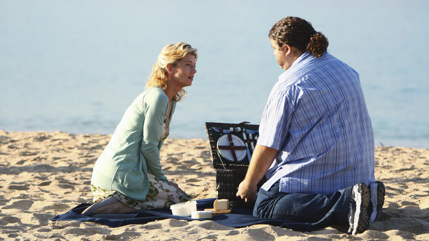 "LOST - ""Everybody Loves Hugo"" - Hurley agonizes over what the group should do next, and Locke is curious about the new arrival to his camp, on ""Lost,"" TUESDAY, APRIL 13 (9:00-10:02 p.m., ET) on the ABC Television Network. (ABC/MARIO PEREZ) CYNTHIA WATROS, JORGE GARCIA"