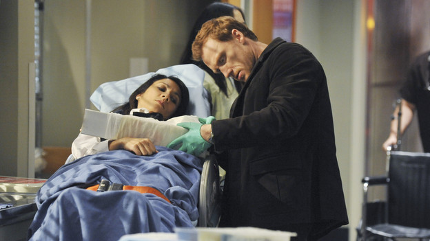 GREY'S ANATOMY - &quot;Valentine's Day Massacre&quot; -- It's Valentine's Day, and the doctors must treat dozens of injured people after the roof collapses at a popular romantic restaurant; Derek tries to manage his busy schedule as Chief of Surgery; Meredith wrestles with her new duties as the Chief's wife; and Mark and Callie team up to convince Sloan to do the right thing for her baby, on &quot;Grey's Anatomy,&quot; THURSDAY, FEBRUARY 11 (9:00-10:01 p.m., ET) on the ABC Television Network. (ABC/ERIC MCCANDLESS)KEVIN MCKIDD