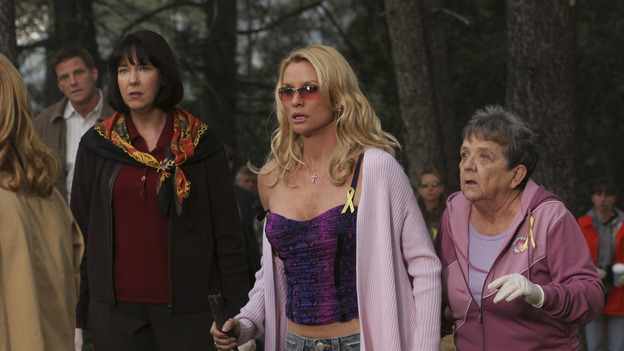 "DESPERATE HOUSEWIVES - ""Move On"" - Edie organizes a neighborhood search for the missing Mrs. Huber, just as the absent busybody's sister (guest star Harriet Sansom Harris) arrives on Wisteria Lane. Meanwhile, Bree resigns herself to her marital state and asks an attractive pharmacist (Tony Award-winning actor Roger Bart) on a date; Susan's ex, Karl (guest star Richard Burgi), suddenly reappears in her life; Lynette fears that Tom is attracted to the new nanny (guest star Marla Sokoloff); and Gabrielle sinks to new depths - she gets a job -- on ""Desperate Housewives,"" SUNDAY, JANUARY 9 (9:00-10:00 p.m., ET), on the ABC Television Network. (ABC/DANNY FELD)HARRIET SANSOM HARRIS, NICOLLETTE SHERIDAN, PAT CRAWFORD BROWN"