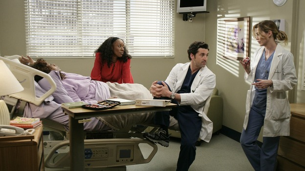 "GREY'S ANATOMY - ""Losing My Mind"" - Dr. Wyatt refuses to let Meredith give up on therapy, Alex learns the truth about Rebecca's medical condition, the Chief insists that Erica perform a risky surgery on his mentor, and after receiving news of Burke, Cristina continues to do things contrary to her nature, going so far as cleaning her always-messy apartment, on ""Grey's Anatomy,"" THURSDAY, MAY 15 (9:00-10:02 p.m., ET) on the ABC Television Network. (ABC/MITCH HADDAD)REGINA TAYLOR, APRIL GRACE, PATRICK DEMPSEY, ELLEN POMPEO"
