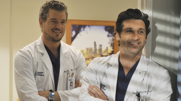 "GREY'S ANATOMY - ""Life During Wartime"" - Mark and Derek hang out at Seattle Grace, on ""Grey's Anatomy,"" THURSDAY, OCTOBER 30 (9:00-10:01 p.m., ET) on the ABC Television Network. (ABC/ERIC MCCANDLESS) ERIC DANE, PATRICK DEMPSEY"