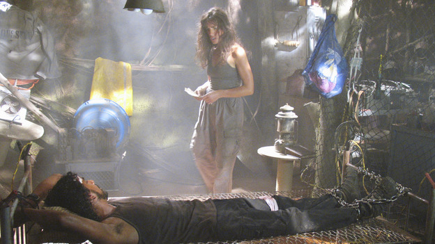 "LOST - ""Solitary"" - Sayid's life is placed in grave danger after he stumbles upon the source of the mysterious French transmission. Meanwhile, Hurley has a ridiculous plan to make life on the island a little more civilized -- and it just might work -- on ""Lost,"" WEDNESDAY, NOVEMBER 17 (8:00-9:00 p.m., ET), on the ABC Television Network. (ABC/MARIO PEREZ) NAVEEN ANDREWS, MIRA FURLAN"