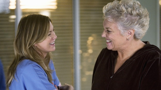 "GREY'S ANATOMY - ""Sympathy for the Devil"" - Meredith meets Derek's mother, Carolyn, and confesses that she's not the kind of girl moms usually like, on ""Grey's Anatomy,"" THURSDAY, JANUARY 15 (9:00-10:01 p.m., ET) on the ABC Television Network. (ABC/RANDY HOLMES) ELLEN POMPEO, TYNE DALY"