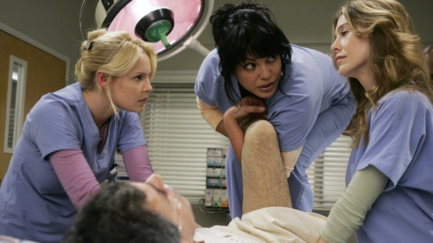 GREY'S ANATOMY - &quot;Name of the Game&quot; - George begins to overstay his welcome at Burke's apartment; Meredith learns a secret about her father; Bailey worries her colleagues will not treat her the same now that she's a mother; and Alex gets a lesson in bedside manners, on &quot;Grey's Anatomy,&quot; SUNDAY, APRIL 2 (10:00-11:00 p.m., ET) on the ABC Television Network. (ABC/PETER &quot;HOPPER&quot; STONE)KATHERINE HEIGL, SARA RAMIREZ, ELLEN POMPEO