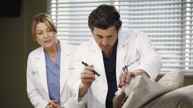 "GREY'S ANATOMY - ""One Step Too Far"" - Derek encourages a hesitant Meredith to work with him again in neurology; Jackson's mother, Catherine Avery, returns to Seattle Grace with a urology fellow and develops an interest in Richard; and Cristina becomes increasingly suspicious of Owen's every move. Meanwhile, Alex tries to deny the fact that Morgan may be falling for him, on ""Grey's Anatomy,"" THURSDAY, MARCH 15 (9:00-10:02 p.m., ET) on the ABC Television Network.  (ABC/VIVIAN ZINK) ELLEN POMPEO, PATRICK DEMPSEY"