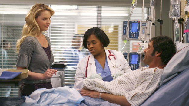 "GREY'S ANATOMY - In the first hour of part two of the season finale of ABC's ""Grey's Anatomy"" -- ""Deterioration of the Fight or Flight Response"" -- Izzie and George attend to Denny as the pressure increases to find him a new heart, Cristina suddenly finds herself in charge of an ER, and Derek grapples with the realization that the life of a friend is in his hands. In the second hour, ""Losing My Religion,"" Richard goes into interrogation mode about a patient's condition, Callie confronts George about his feelings for her, and Meredith and Derek meet about Doc. Part two of the season finale of ""Grey's Anatomy"" airs MONDAY, MAY 15 (9:00-11:00 p.m., ET) on the ABC Television Network. (ABC/SCOTT GARFIELD)KATHERINE HEIGL, CHANDRA WILSON, JEFFREY DEAN"