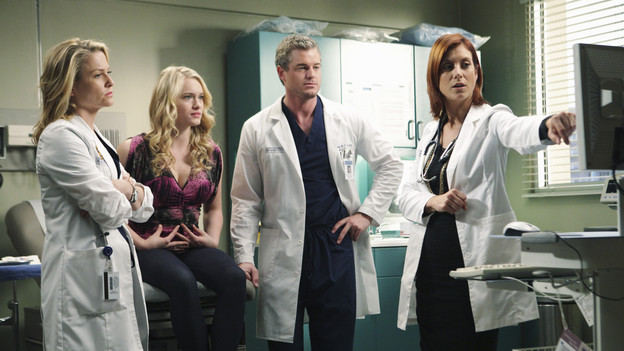 "GREY'S ANATOMY - ""Blink""- Mark flies Addison to Seattle to help with a difficult procedure on his pregnant daughter, Sloan, Owen questions Teddy's motives when she assigns Cristina the lead on a complicated surgery, and Derek's suspicions are raised when the Chief recruits Meredith to assist with a high profile operation on, ""Grey's Anatomy,"" THURSDAY, JANUARY 14 (9:00-10:01 p.m., ET) on the ABC Television Network. (ABC/ADAM TAYLOR)JESSICA CAPSHAW, LEVEN RAMBIN, ERIC DANE, KATE WALSH"