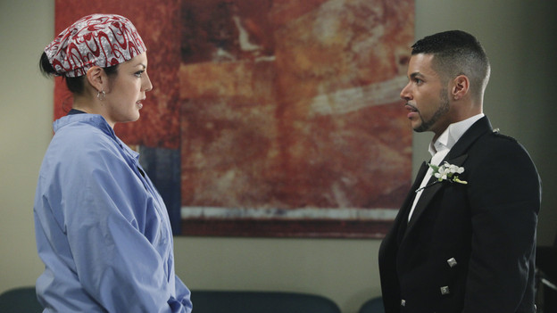 "GREY'S ANATOMY - ""Start Me Up"" - Arizona seeks Mark's advice as she tries to reconcile with Callie, who has big news of her own; Teddy must make a key decision for Henry during his surgery; and on the same day the residents receive a new crop of interns, the Chief announces he is looking for a new Chief Resident, on ""Grey's Anatomy,"" THURSDAY, JANUARY 13 (9:00-10:01 p.m., ET) on the ABC Television Network. (ABC/DANNY FELD)SARA RAMIREZ, WILSON CRUZ"