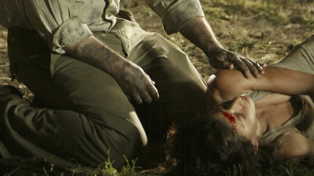 "LOST - ""The Shape of Things to Come"" - Locke's camp comes under attack, and Jack tries to discover the identity of a body that has washed ashore, on ""Lost,"" THURSDAY, APRIL 24 (10:01-11:00 p.m., ET) on the ABC Television Network. (ABC/MARIO PEREZ)MICHAEL EMERSON, TANIA RAYMONDE"