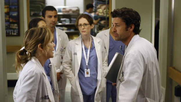 "GREY'S ANATOMY - ""Piece of My Heart"" - Addison returns to Seattle Grace to perform an operation and is taken aback by all of the changes in her old co-workers' lives. Meanwhile Meredith and Derek's clinical trial has its first patient, and Rebecca/Ava returns with shocking news for Alex, on ""Grey's Anatomy,"" THURSDAY, MAY 1 (9:00-10:01 p.m., ET) on the ABC Television Network. (ABC/SCOTT GARFIELD)ELLEN POMPEO, PATRICK DEMPSEY"