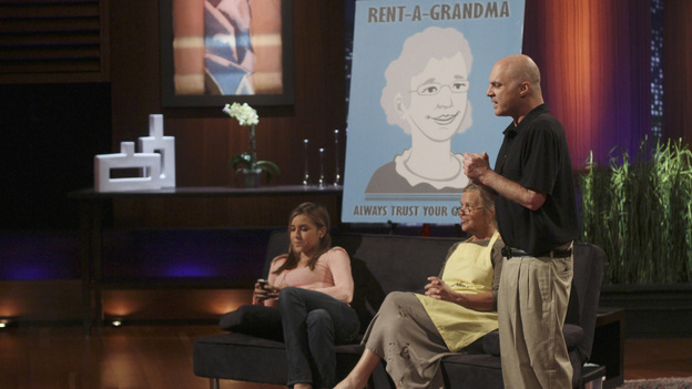"SHARK TANK - ""Episode 306"" - It becomes obvious to the Sharks that three ice cream makers from Old Lyme, CT don't have much money sense when pitching their beer-infused flavored ice cream. A man from Englewood, CO brings his dog along to demonstrate how his pre-packaged meals for pets work. It gets loud when two women from Los Angeles, CA hope the Sharks will gear up to make a deal with their line of protective safety wear for motorcycle enthusiasts. A young, street-smart entrepreneur from Venice, CA wants the Sharks to go into his clothing business that allows people to digitally put images on any garment, turning it into wearable art. Also, a follow-up on Randy & Darryl Lanz from Peachtree City, Georgia and their Ride On Carry On luggage attachment, which Barbara invested in during Season 2, on ""Shark Tank,"" FRIDAY, MARCH 23 (8:00-9:01 p.m., ET) on the ABC Television Network. (ABC/MICHAEL ANSELL)TODD COLBY PLISS (RENT-A-GRANDMA)"