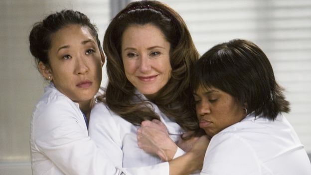 "GREY'S ANATOMY - ""Beat Your Heart Out"" - Cristina and Bailey hug Dr. Virginia Dixon to calm her down, on ""Grey's Anatomy,"" THURSDAY, FEBRUARY 5 (9:00-10:02 p.m., ET) on the ABC Television Network. (ABC/RANDY HOLEMES) SANDRA OH, MARY MCDONNELL, CHANDRA WILSON"