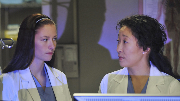 GREY'S ANATOMY- &quot;Here Comes the Flood&quot; - Cristina and Lexie look at a patient's test results, on &quot;Grey's Anatomy,&quot; THURSDAY, OCTOBER 9 (9:00-10:01 p.m., ET) on the ABC Television Network. (ABC/ERIC McCANDLESS) PATRICK DEMPSEY, CHYLER LEIGH, SANDRA OH