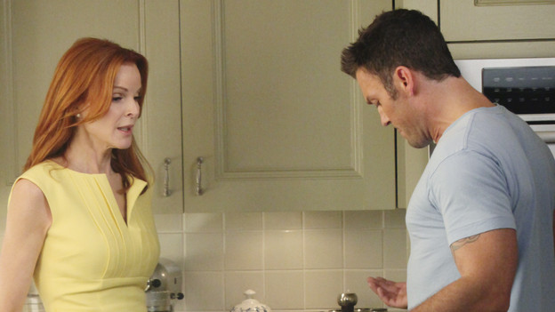 "DESPERATE HOUSEWIVES - ""You Must Meet My Wife"" -  After Renee begins spending a lot of time with Tom, an angry Lynette feels she's trying to sabotage their marriage; Bree fires Keith (Brian Austin Green) without warning when she suddenly finds herself falling for him; Susan is wracked with guilt about lying to Mike about her new, risqu side job; Gabrielle rushes to the hospital after learning that Bree accidentally hit Juanita with the car; and Paul introduces the women of Wisteria Lane to his new wife, on ""Desperate Housewives,"" SUNDAY, OCTOBER 3 (9:00-10:01 p.m., ET) on the ABC Television Network. (ABC/DANNY FELD)MARCIA CROSS, BRIAN AUSTIN GREEN"